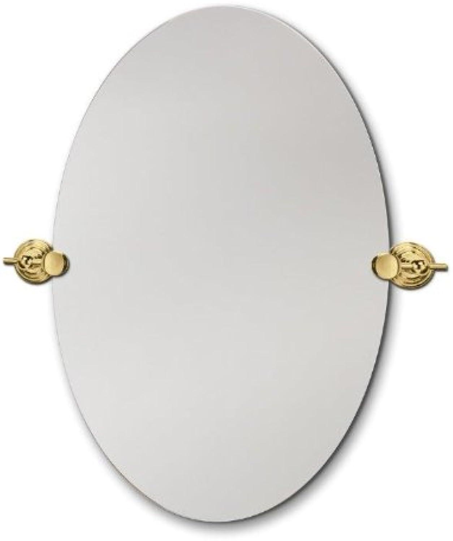 Head West Beveled Oval Brass Swivel Mirror, 22 by 28-Inch