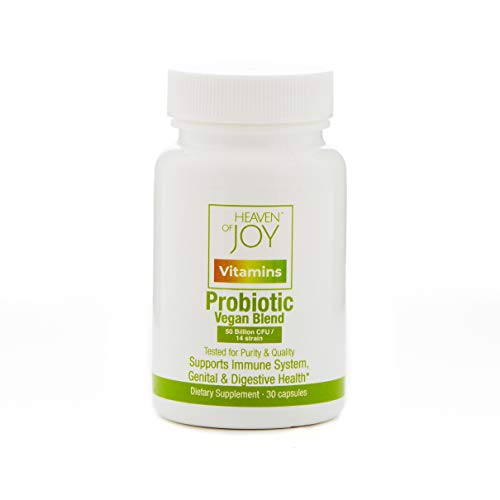 HEAVEN OF JOY Probiotics Vegan Blend for Women, 50 Billion CFU, 14 Strain, Vegan, Digestive Health, Support Immune System, Genital, Mood, Test Purity & Quality, 30 Capsules