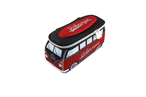 BRISA VW Collection - Volkswagen Combi Bus T1 Camper Van 3D Trousse de Maquillage en Néoprène, Sac à cosmétiques, Nécessaire de Toilette/Culture, Étui, Porte-Crayon,Pochette Universel (Rouge/Noir)