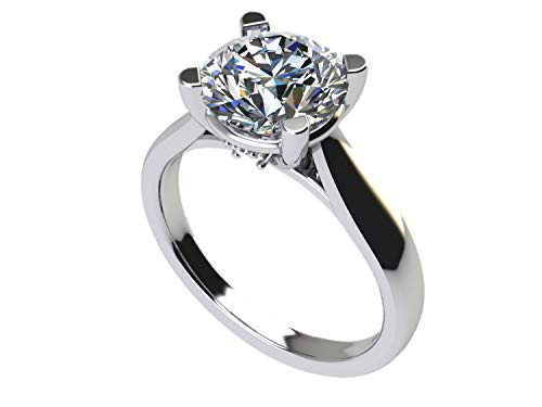 NANA Silver 6.5mm (1ct) Round Cut Zirconia Lucita Solitaire Engagement Ring-Platinum Plated-Size 5.5