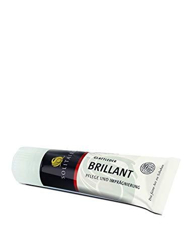 Solitaire Brilliant Schuhcreme in vielen Farben für Glattleder 75 ml + Rema Ersatzschwamm zum Aufschrauben (Hellbraun 38)