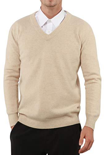 PHELEAD Herren 100% Merinowolle Winterpullover V-Ausschnitt Herren Langarm Slim warm Strick Kaschmir Pullover Herren Sweater (XL, Beige)