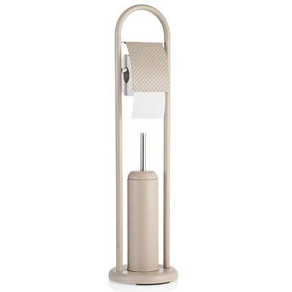 Baroni Home Scopino per WC con Porta Carta Igienica Linea Bagno Dotty in Metallo Tortora 20X20X80 cm