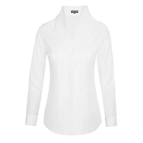 HEVENTON Damen Hemdbluse mit Kelchkragen Stehkragen Langarm 100% Baumwolle Oxford - Elegant leicht tailliert 1207 Größe 36
