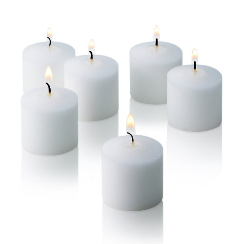 10 Hour White Unscented Votive Candles Set of 36 Made in USA