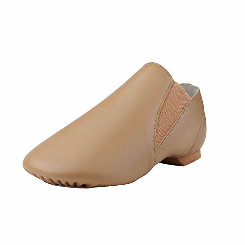 Dynadans Jazz Shoe Leather Slip On with Elastics (Big Kid/Little Kid/Toddler) 9.5M Toddler Brown