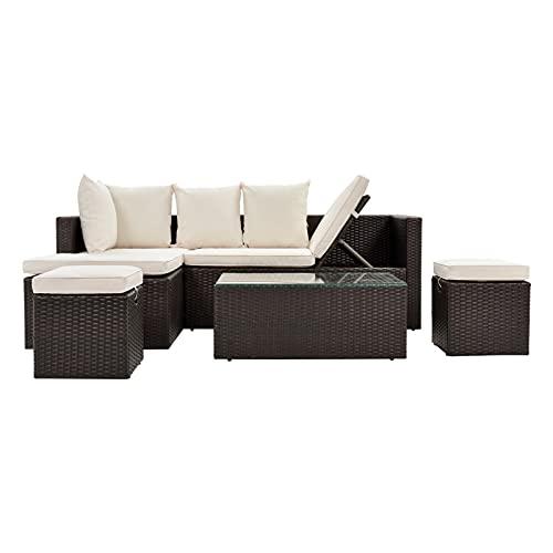 Conjuntos de Muebles de Patio De 5 Piezas EDUCACIÓN FÍSICA Sofá de Mimbre Set Rattan Ajustable Chaise Lounge con Mesa de té de Vidrio Templado y Cojines extraíbles Beige por CHENGYSTE