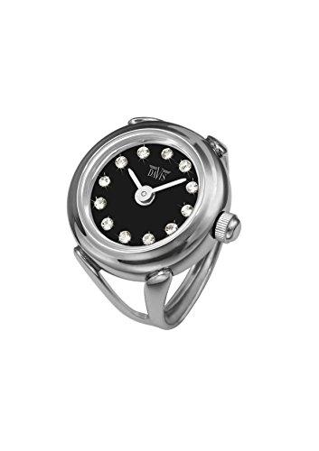 Davis 4173 - Reloj Anillo Mujer Ajustable Acero Esfera Negra Cristal Swarovski Cristal de Zafiro