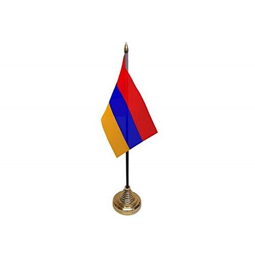 Pack van 3 Armenië Armeense Desktop Tafel Middenstuk Vlag Vlaggen Met Gouden Bases Ideaal Voor Partij Conferenties Kantoorscherm