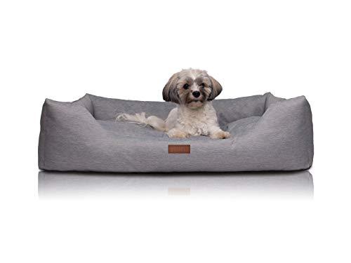 Greeny Hundebett für große, mittlere und kleine Hunde – Bezug waschbar – Hundekissen weich und extra dick – Hundesofa grau/beige – schmutzabweisend, wasserdicht