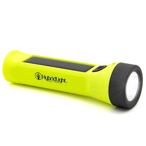Hybridlight Journey 300 Solar/Rechargeable 300 Lumen LED Waterproof Flashlight. High/Low Beam, USB Cell Phone Charger, Built In Solar Panel Charges Indoors or Out, USB Quick Charge Cable Included