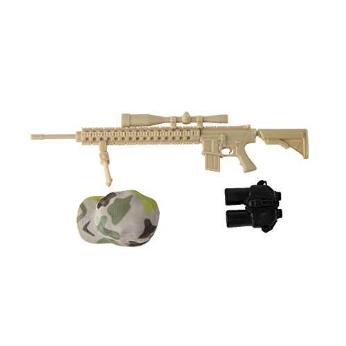Army Men by World Peacekeepers Action Figures: 30-Pt. Full-Motion 12-Inch Army Toys w/ Ninja Grip, Military Sniper Rifle, Binocs & Kevlar (Desert Sniper)