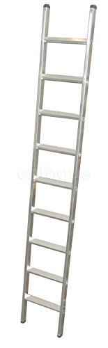 Escalera industrial de aluminio apoyo fija 9 peldaños anchos serie peak