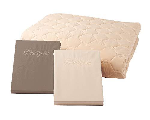 シモンズ(Simmons) 正規品 寝具3点セット キング 羊毛ベーシック3(羊毛ベッドパッド1枚+綿ボックスシーツ2枚) アイボリー色/ブラウン色 180cm×195cm×マチ35cm 洗える 日本製 LA1004A