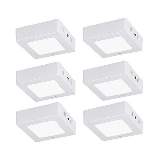 Diolumia kit 6 plafoniere a LED quadrate, 6 W bianco freddo, 6000 K, equivalenti 45 W, 480 lm, Ra≥ 80, Downlight LED, per camera da letto, cucina, soggiorno,120 x 120 x 40 mm