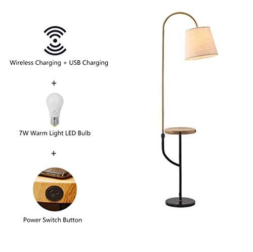 CHOUE staande arc staande lamp bijzettafel met draadloze pad USB-poorten laden met hangende universele rotatie schaduw hoog paal uplight voor kantoor slaapkamer en woonkamer