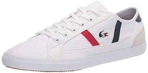 Lacoste Women's Sideline Sneaker, White/Navy Blue/Red, 9 Medium US