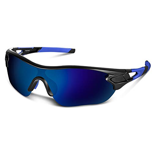 Polarized Sports Sunglasses for Men Women Cycling Running Driving Fishing Golf Baseball Motorcycle Glasses (Black Blue)