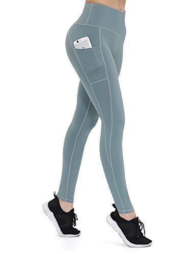 ALONG FIT Leggings Damen mit Taschen, Nicht durchsichtig Sporthose Damen Dehnbar Yogahosen für Damen, Türkis, M