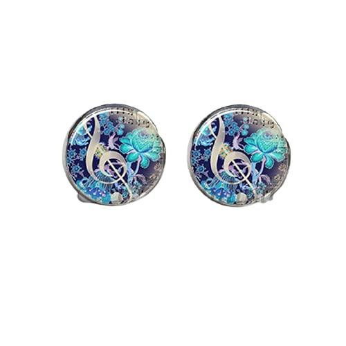 Pendientes de notas musicales – Pendientes de clave, bajo y agudos, joyería de uñas, pendientes de cúpula de cristal para mujer