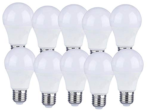 LEDLUX - 10 bombillas LED E27 A60, 9 W, forma esférica, 806 lúmenes, Ø 60 x 110 mm, disponible en blanco cálido, neutro y frío