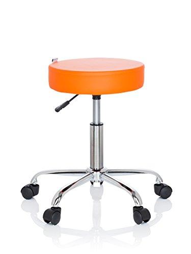 hjh OFFICE 729412 Bürohocker Operator II Kunstleder Orange Hocker höhenverstellbar mit Rollen