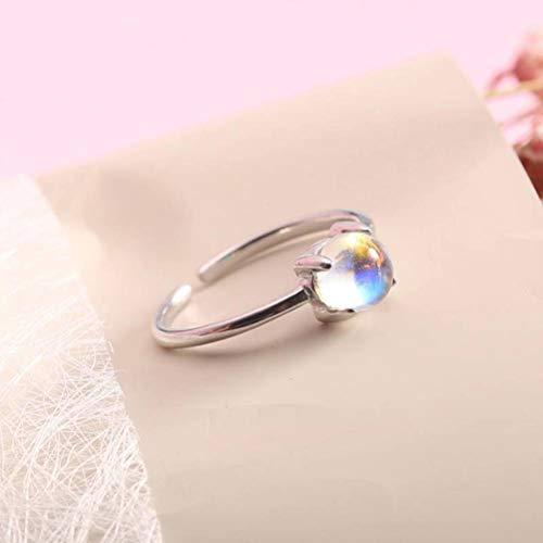 Moonstone Mondstein Ring S925 Sterling Silber Korea Einzelring Einfache Wild Student Zubehör Hypoallergene Korean Female Ring, Silber, Öffnung einstellbar