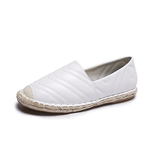 Sneaker da Donna Casual Fashion Slip-on Spadrille Scarpe da Tela Piatta di Tela Paglia Tessuto Sole Pedal Casual Moda Scarpe (Color : White, EU Size : 40)