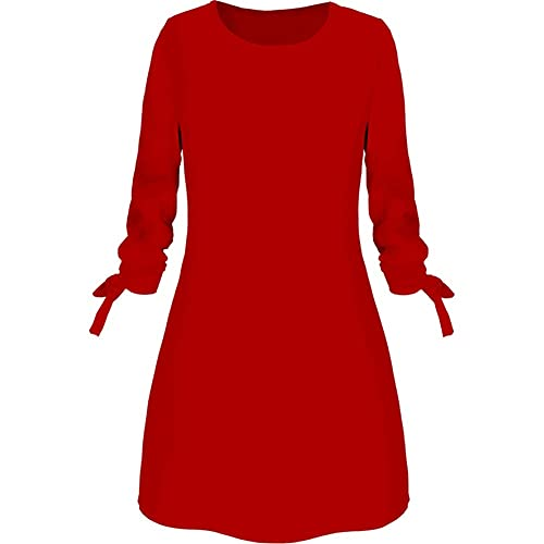 N\P Casual Women Autumn Solid Color O Neck Drawstring Sleeve Loose Mini Dress Red