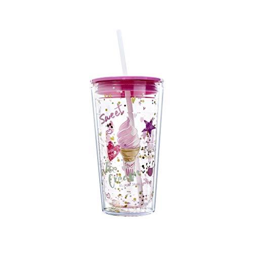 PROTAURI 600 ml Plastik Becher mit Deckel und Strohhalm - Doppelwandig Wiederverwendbar Trinkbecher Kaffeebecher Isoliert Trinkflasche Tasse für Saft Kaffee Wasser Milk/Kinder und Erwachsene