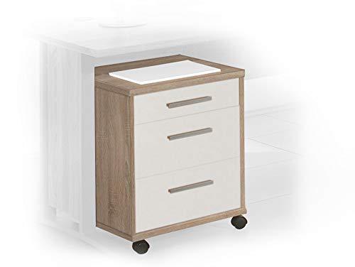 moebel-eins Office LINE Rollcontainer, Material Dekorspanplatte, Eiche sonomafarbig/Weiss