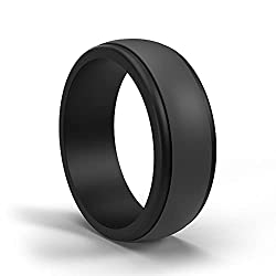 POPCHOSE Mens Silicone Wedding Rings, Silicone Rings Mens Silicone Rubber Wedding Bands for Men Size 7 8 9 10 11 12 13, 1 Pack