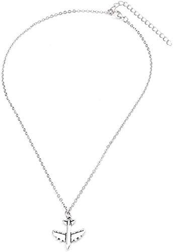 ZQMC Collar Europeo Lujoso Simple avión Collares y Colgantes de Cadena Larga para Mujeres Regalo de cumpleaños joyería DIY tamaño 40 + 7Cm