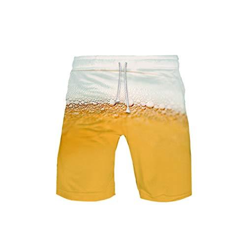 Qiuday 3-D Printed Beer Festival Freizeit Strandhose Badehose für Herren Schnell trockene Badeshorts Jungen Strand Surf Schwimmen Laufen Board Shorts einstellbare Kordelzug Badeanzüge