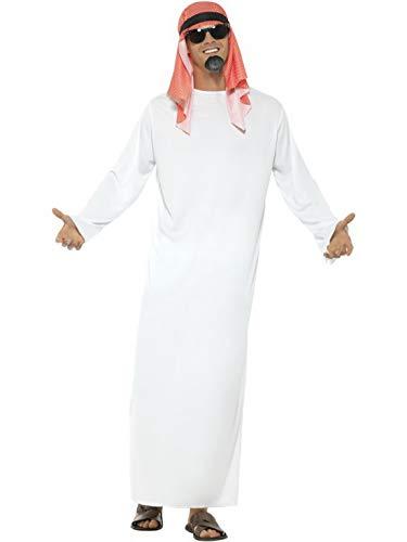 Halloweenia - Herren Männer arabischer Scheich Araber Saudi Kostüm mit Langer Tunika & Kopfbedeckung, perfekt für Karneval, Fasching und Fastnacht, M, Weiß