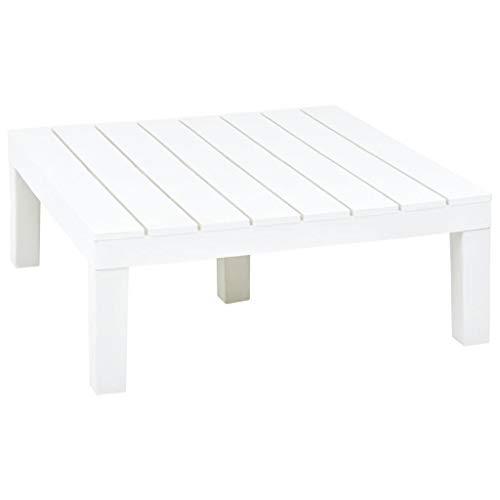 vidaXL Gartentisch Witterungsbeständig Beistelltisch Couchtisch Teetisch Balkontisch Gartenmöbel Tisch Garten Weiß 78x78x31cm Kunststoff