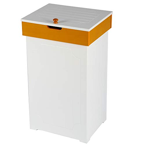 Function Home Kitchen Trash Can Country CottageTrashcan Wood Trash Bin Country Style Garbage Can Wooden Trash Can in-Home Recycling Bins 13 Gallon Outdoor Trash Cans Recycle Bin in White