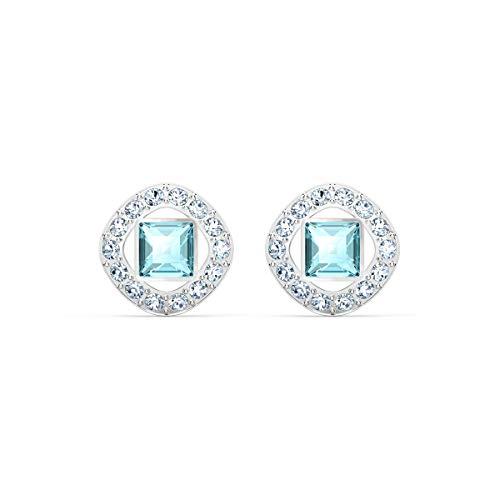 Swarovski Boucles doreilles clous Angelic Square, aiguemarine turquoise, métal rhodié