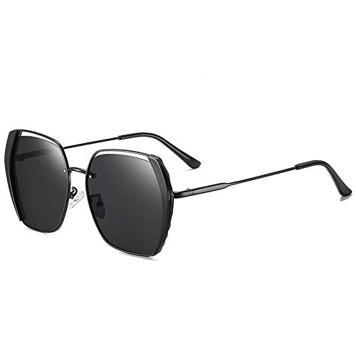 QINGZHOU Gafas De Sol,Gafas de sol polarizadas para mujer Gafas de sol de tendencia de personalidad Gafas de sol rojas retro netas, Negro mate/Película gris T1-1
