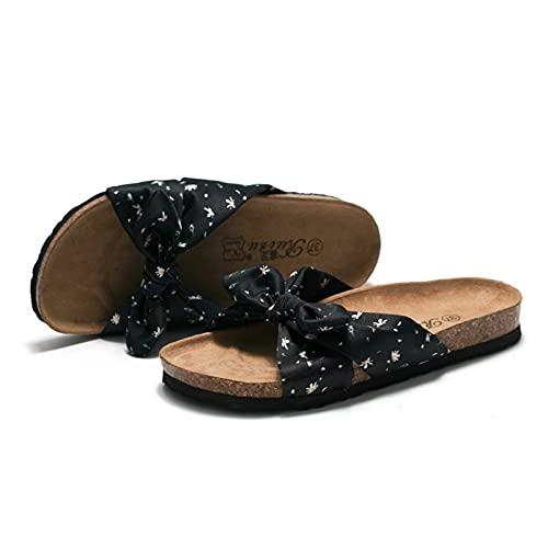 Sandalias Planas para Mujer Zapatos Cómodos con Plantilla De Corcho Sin Cordones De Lona con Punta Abierta para Mujeres Damas Niñas Sandalias Planas Informales,41