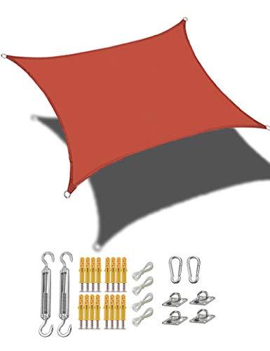 gfdfrg Vela de Sombra,Cuadrado/Rectangular Toldo Exterior Vela de Sombra, Protección Rayos UV, Impermeable con Kit de Fijación para Patio al Aire Libre, Jardín,Rojo óxido