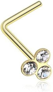 WildKlass Jewelry Trinity Gem Top L-Shaped Nose Ring 316L Surgical Steel
