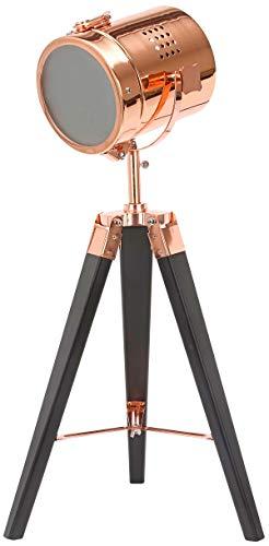 BRUBAKER Stehleuchte Industrial Design Tripod Lampe - 65 cm Höhe - Stativbeine aus Holz Schwarz - Scheinwerfer Kupfer