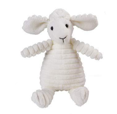 My Woofie Hundespielzeug, quietschendes Plüschspielzeug zum Kauen für kleine, mittlere und mittelgroße Hunde, Schaf weiß