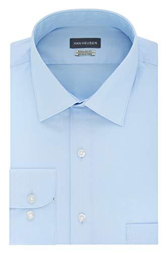 Van Heusen Men's Herringbone Regular Fit Solid Spread Collar Dress Shirt, Blue Cloud, 17.5' Neck 34'-35' Sleeve
