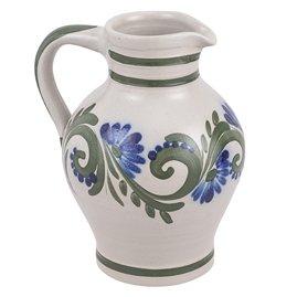 vivApollo Bembel Weinkrug Vase Original westerwälder Kannenbäckerland salzglasierte Steinzeug Keramik (1 ltr, grün-blau)