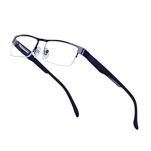 Lesebrillen für Herren +1.5 (50-54 Jahre) Leicht Halbrand Rechteck Metall Schwarz Rahmen Klare Linse Presbyopische Gläser mit Etui