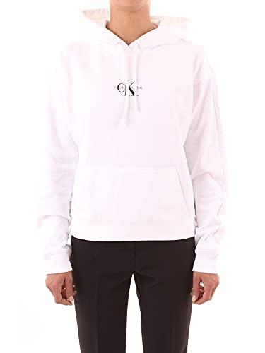 Calvin Klein Jeans Cropped Monogram Hoodie Maglia di Tuta, Bright White, M Donna