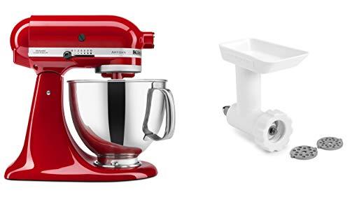 KitchenAid KSM150GBQER Artisan Tilt-Head Stand Mixer with Food Grinder Attachment, Empire Red