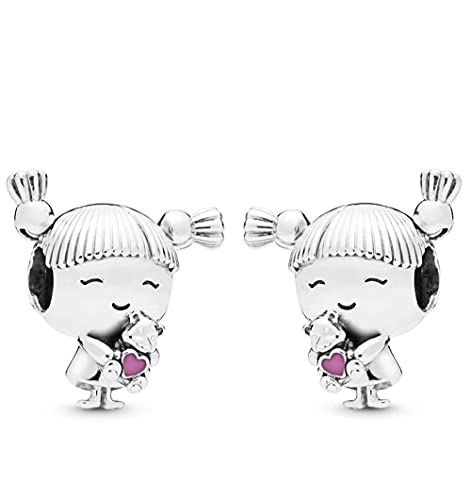 MiniJewelry 2pcs Cute Little Girl Charm for Bracelets Sister Young Daughter Sterling Silver Charms for Women Mom Mothers Day Birthday Gift